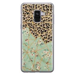 Samsung Galaxy A8 2018 siliconen hoesje - Luipaard flower print