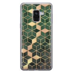 Leuke Telefoonhoesjes Samsung Galaxy A8 2018 siliconen hoesje - Green cubes