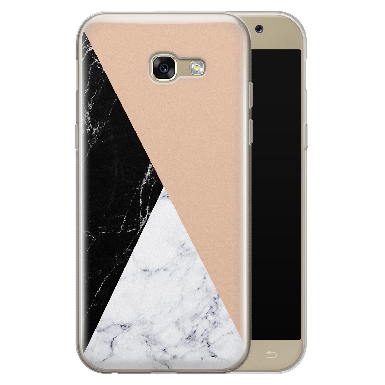 Samsung Galaxy A5 2017 siliconen hoesje - Marmer zwart bruin
