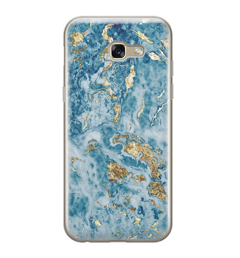 Samsung Galaxy A5 2017 siliconen hoesje - Goud blauw marmer
