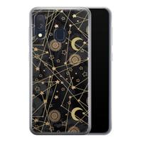 Samsung Galaxy A40 siliconen hoesje - Sun, moon, stars