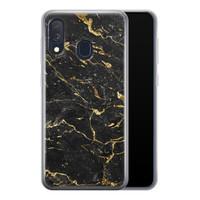 Samsung Galaxy A40 siliconen hoesje - Marmer zwart goud