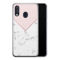 Samsung Galaxy A40 siliconen hoesje - Marmer roze grijs