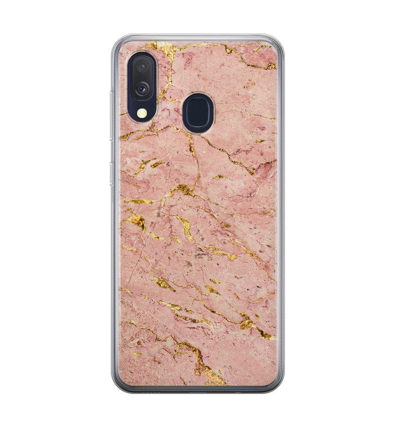 Samsung Galaxy A40 siliconen hoesje - Marmer roze goud