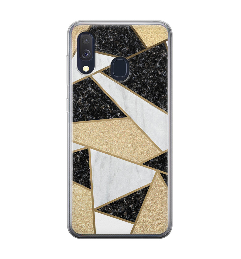 Samsung Galaxy A40 siliconen hoesje - Goud abstract