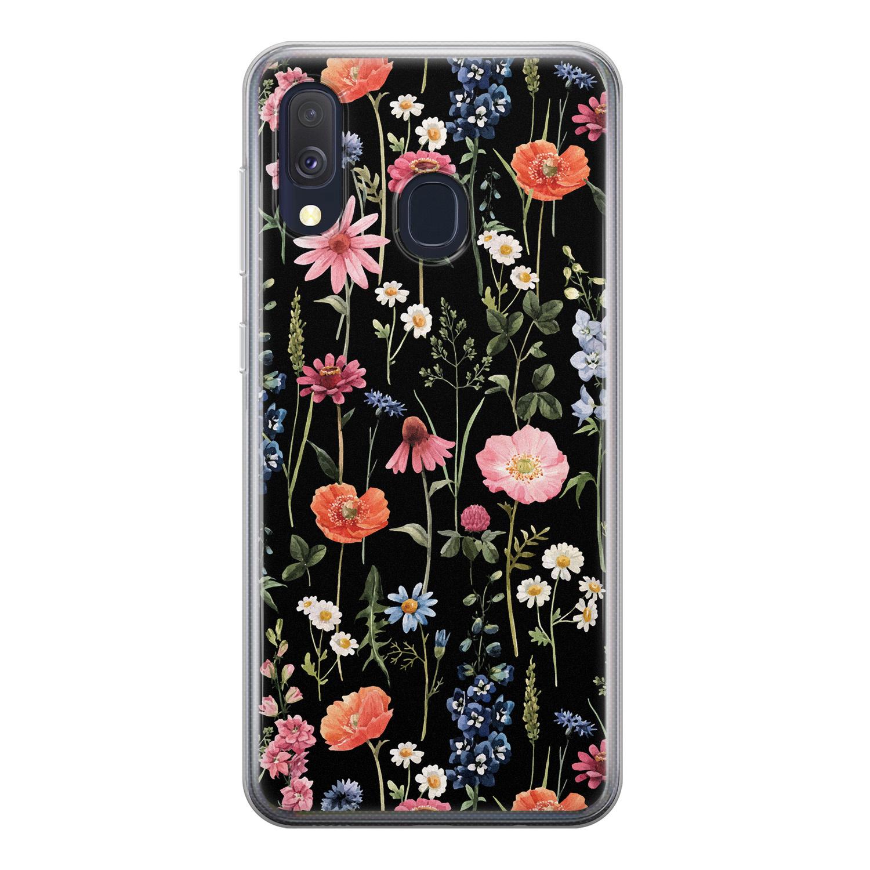 Samsung Galaxy A40 siliconen hoesje - Dark flowers