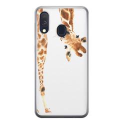 Samsung Galaxy A40 siliconen hoesje - Giraffe peekaboo