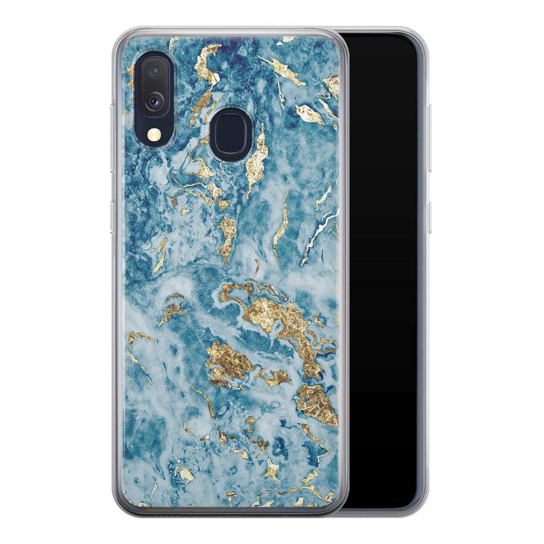 Samsung Galaxy A40 siliconen hoesje - Goud blauw marmer