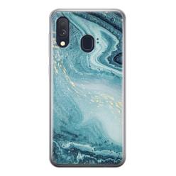 Samsung Galaxy A40 siliconen hoesje - Marmer blauw