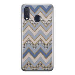 Leuke Telefoonhoesjes Samsung Galaxy A40 siliconen hoesje - Retro zigzag