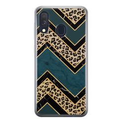Leuke Telefoonhoesjes Samsung Galaxy A40 siliconen hoesje - Luipaard zigzag