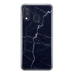 Leuke Telefoonhoesjes Samsung Galaxy A40 siliconen hoesje - Marmer navy blauw