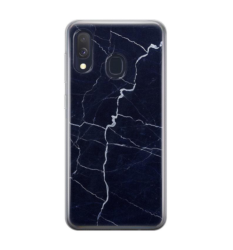 Samsung Galaxy A40 siliconen hoesje - Marmer navy blauw
