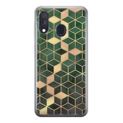Leuke Telefoonhoesjes Samsung Galaxy A40 siliconen hoesje - Green cubes
