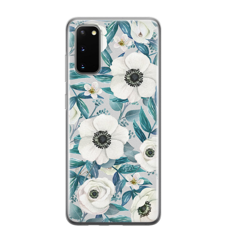 Samsung Galaxy S20 siliconen hoesje - Witte bloemen