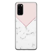 Samsung Galaxy S20 siliconen hoesje - Marmer roze grijs