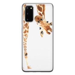 Leuke Telefoonhoesjes Samsung Galaxy S20 siliconen hoesje - Giraffe peekaboo