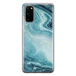 Leuke Telefoonhoesjes Samsung Galaxy S20 siliconen hoesje - Marmer blauw