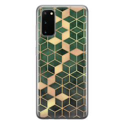 Samsung Galaxy S20 siliconen hoesje - Green cubes