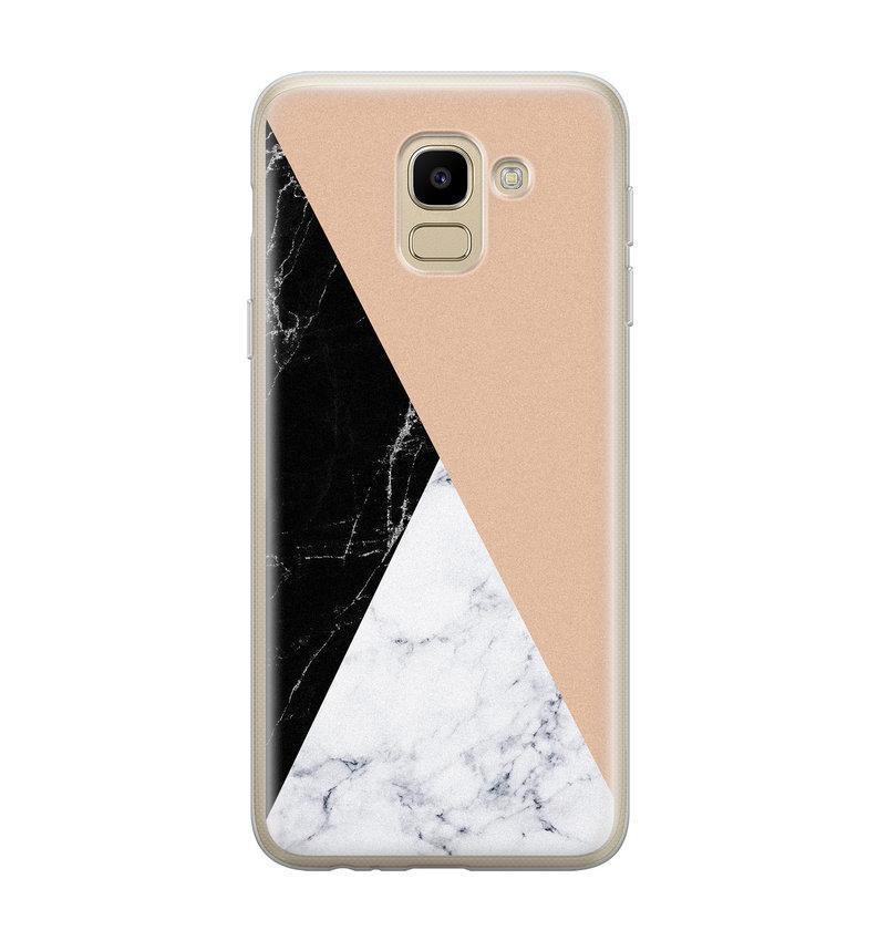 Samsung Galaxy J6 2018 siliconen hoesje - Marmer zwart bruin