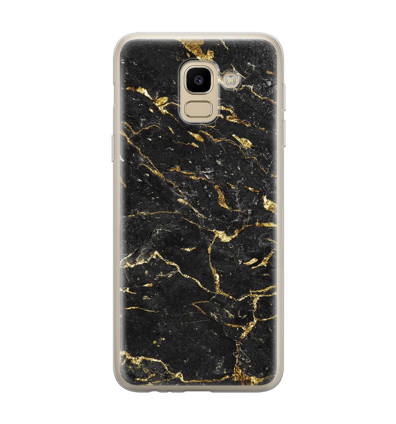 Samsung Galaxy J6 2018 siliconen hoesje - Marmer zwart goud