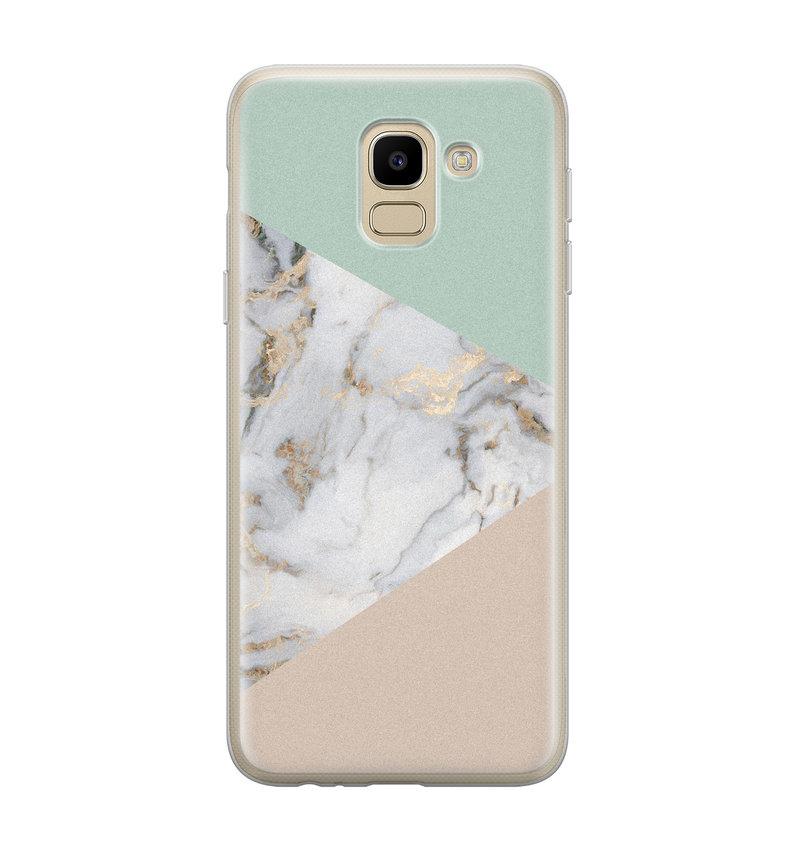 Samsung Galaxy J6 2018 siliconen hoesje - Marmer pastel mix