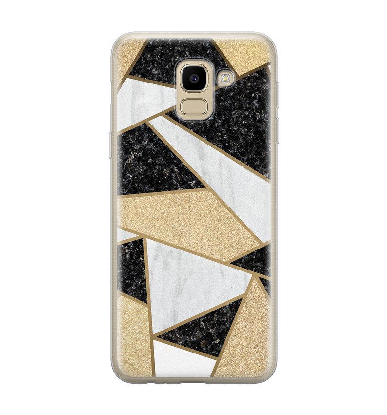 Samsung Galaxy J6 2018 siliconen hoesje - Goud abstract