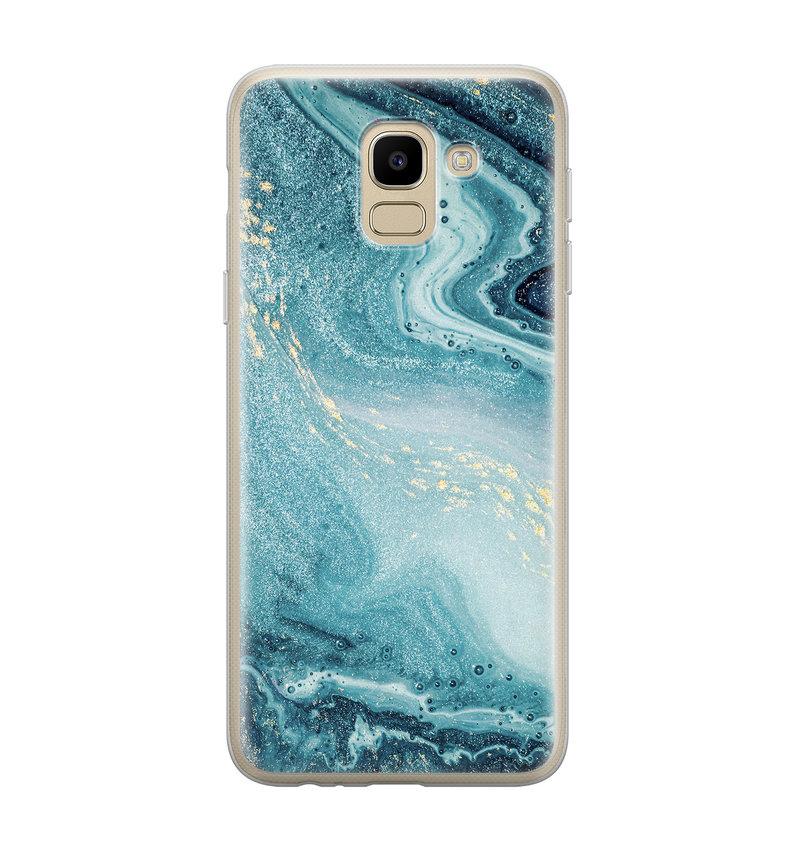 Samsung Galaxy J6 2018 siliconen hoesje - Marmer blauw