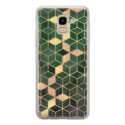 Samsung Galaxy J6 2018 siliconen hoesje - Green cubes