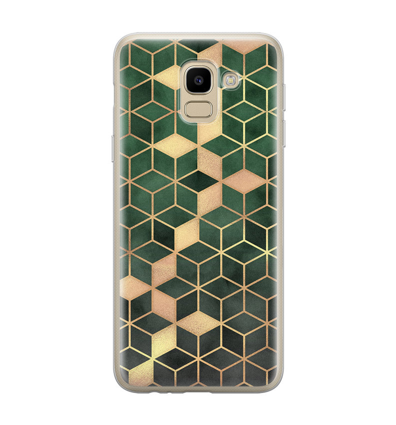 Samsung Galaxy J6 2018 siliconen hoesje - Green cubes