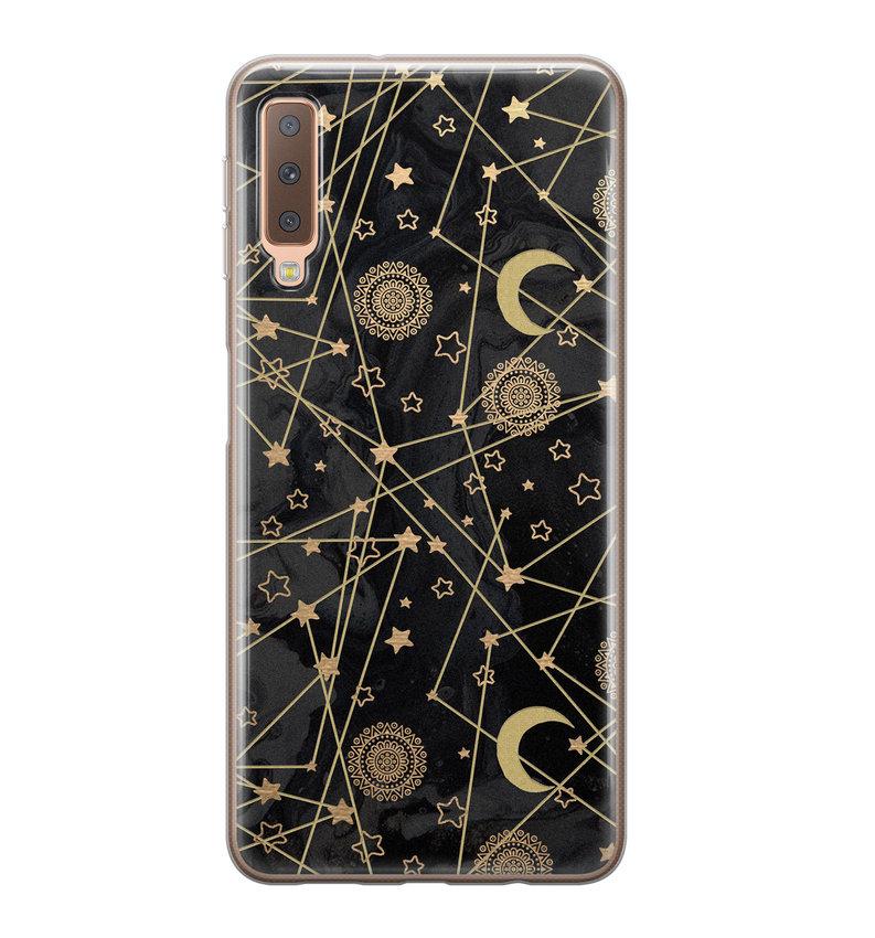 Samsung Galaxy A7 2018 siliconen hoesje - Sun, moon, stars