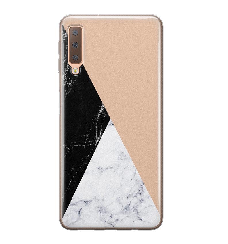 Samsung Galaxy A7 2018 siliconen hoesje - Marmer zwart bruin