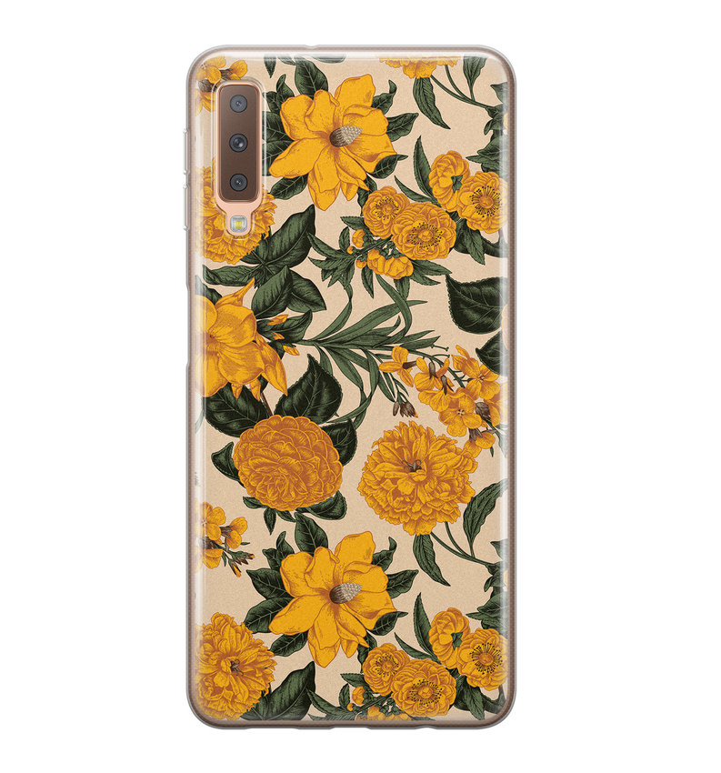 Samsung Galaxy A7 2018 siliconen hoesje - Retro flowers