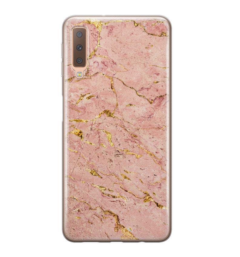 Samsung Galaxy A7 2018 siliconen hoesje - Marmer roze goud