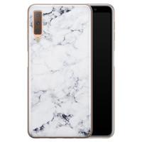Samsung Galaxy A7 2018 siliconen hoesje - Marmer grijs