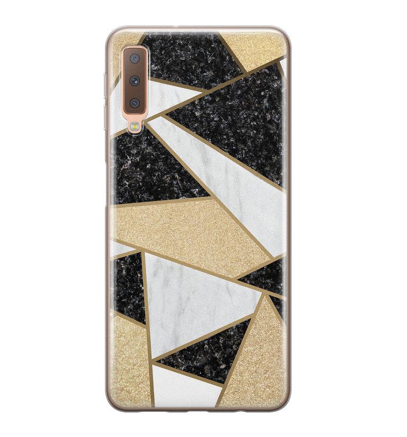 Samsung Galaxy A7 2018 siliconen hoesje - Goud abstract
