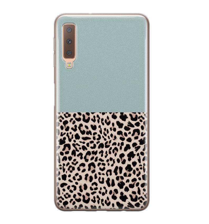 Samsung Galaxy A7 2018 siliconen hoesje - Luipaard mint