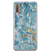 Samsung Galaxy A7 2018 siliconen hoesje - Goud blauw marmer