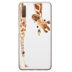 Samsung Galaxy A7 2018 siliconen hoesje - Giraffe peekaboo