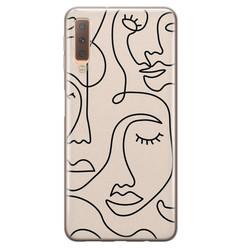 Samsung Galaxy A7 2018 siliconen hoesje - Abstract gezicht lijnen