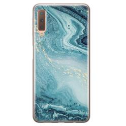 Leuke Telefoonhoesjes Samsung Galaxy A7 2018 siliconen hoesje - Marmer blauw