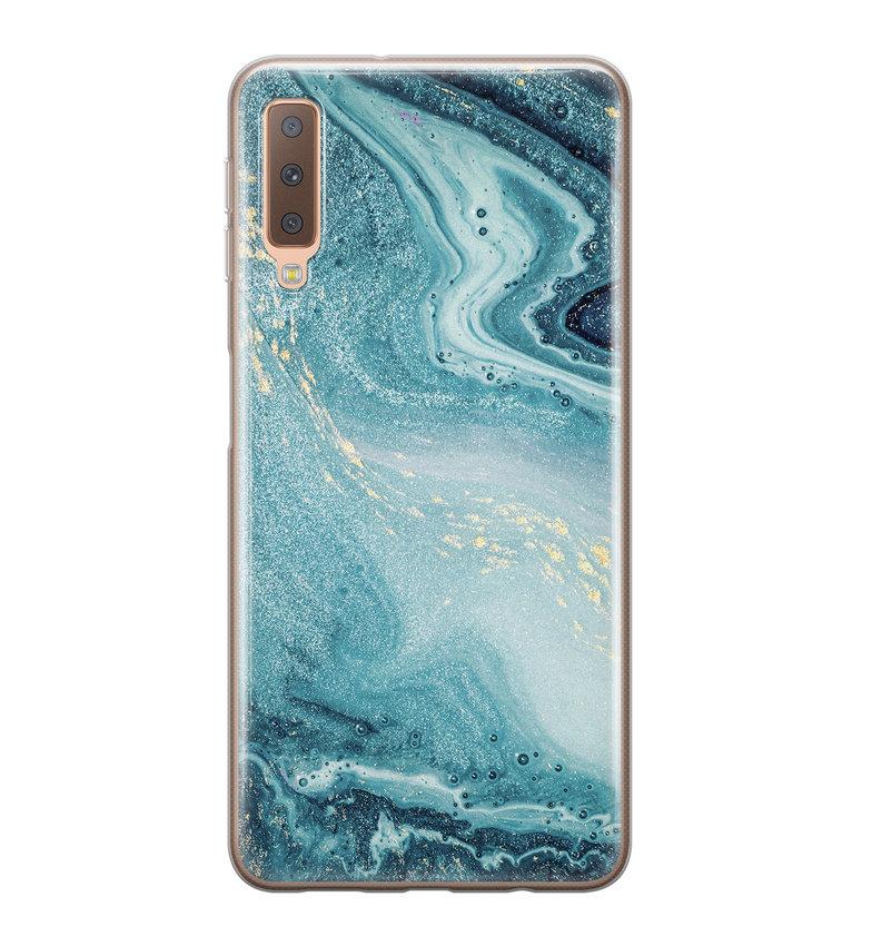Samsung Galaxy A7 2018 siliconen hoesje - Marmer blauw