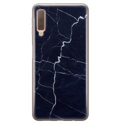 Leuke Telefoonhoesjes Samsung Galaxy A7 2018 siliconen hoesje - Marmer navy blauw