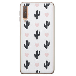 Leuke Telefoonhoesjes Samsung Galaxy A7 2018 siliconen hoesje - Cactus love