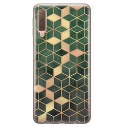 Leuke Telefoonhoesjes Samsung Galaxy A7 2018 siliconen hoesje - Green cubes