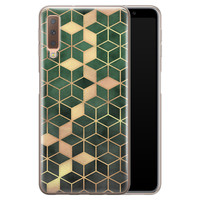Samsung Galaxy A7 2018 siliconen hoesje - Green cubes