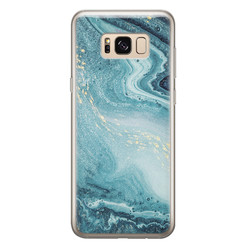 Samsung Galaxy S8 siliconen hoesje - Marmer blauw