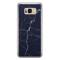 Leuke Telefoonhoesjes Samsung Galaxy S8 siliconen hoesje - Marmer navy blauw