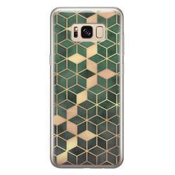 Leuke Telefoonhoesjes Samsung Galaxy S8 siliconen hoesje - Green cubes