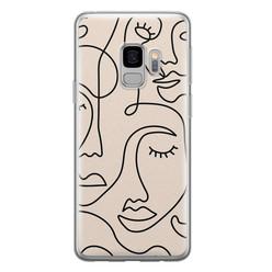 Leuke Telefoonhoesjes Samsung Galaxy S9 siliconen hoesje - Abstract gezicht lijnen